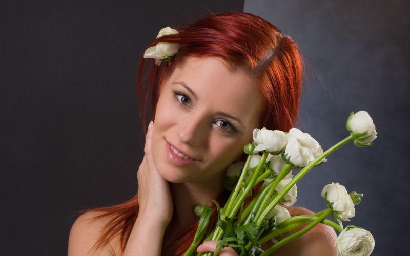 Women flowers redheads ariel piper fawn faces wallpaper