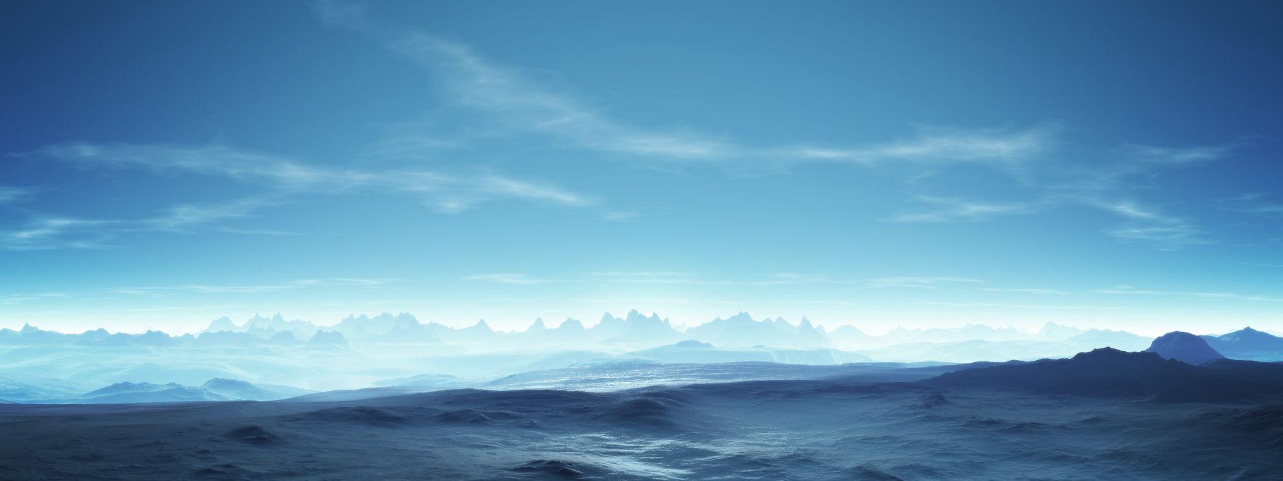 Mountains clouds landscapes digital art wallpaper