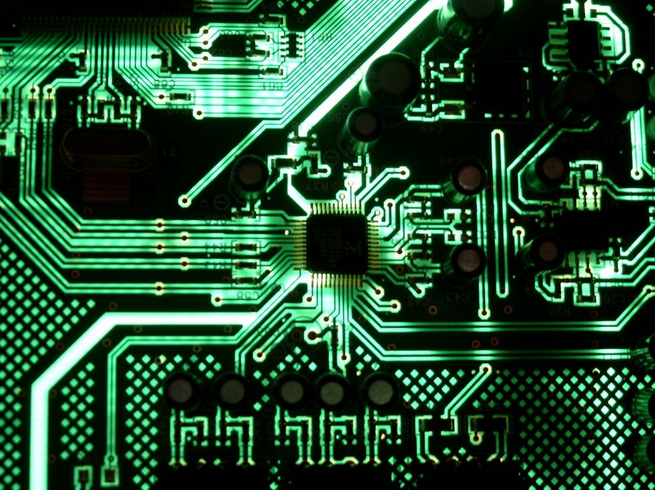 Green lights technology motherboards glowing motherboard schematic wallpaper