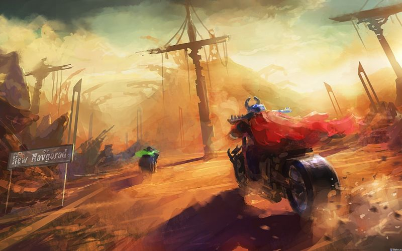 Paintings fantasy art artwork motorbikes wallpaper