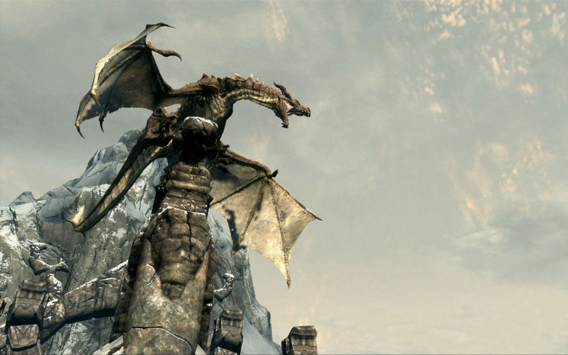 Dragons the elder scrolls v skyrim wallpaper