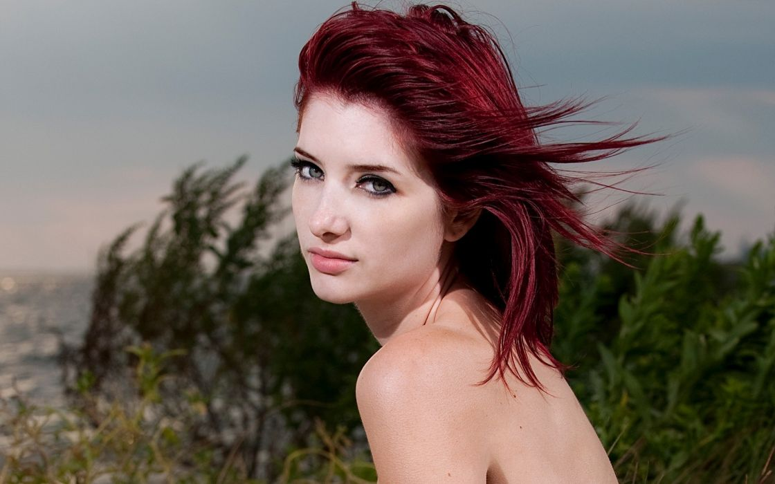 Women beach susan coffey redheads people green eyes wallpaper