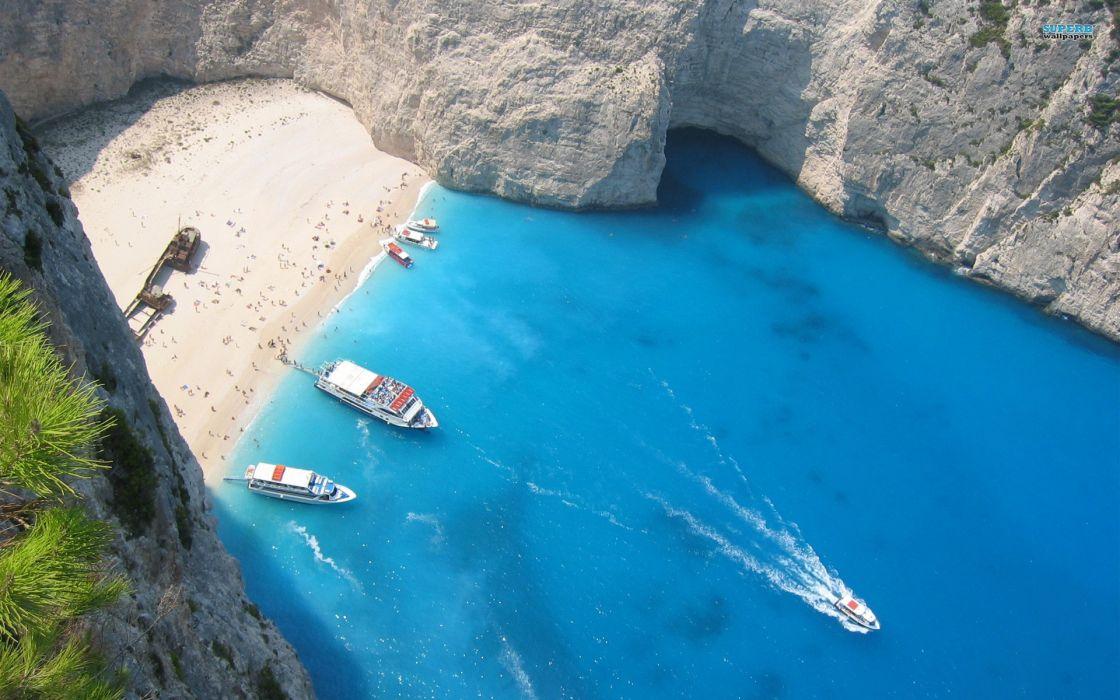 Beach islands boats greece seaside vehicles bay shipwreck wallpaper