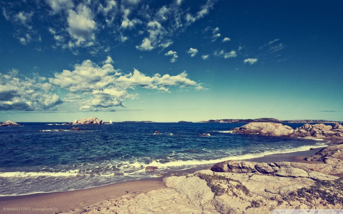 Clouds beach seascapes skyscapes wallpaper