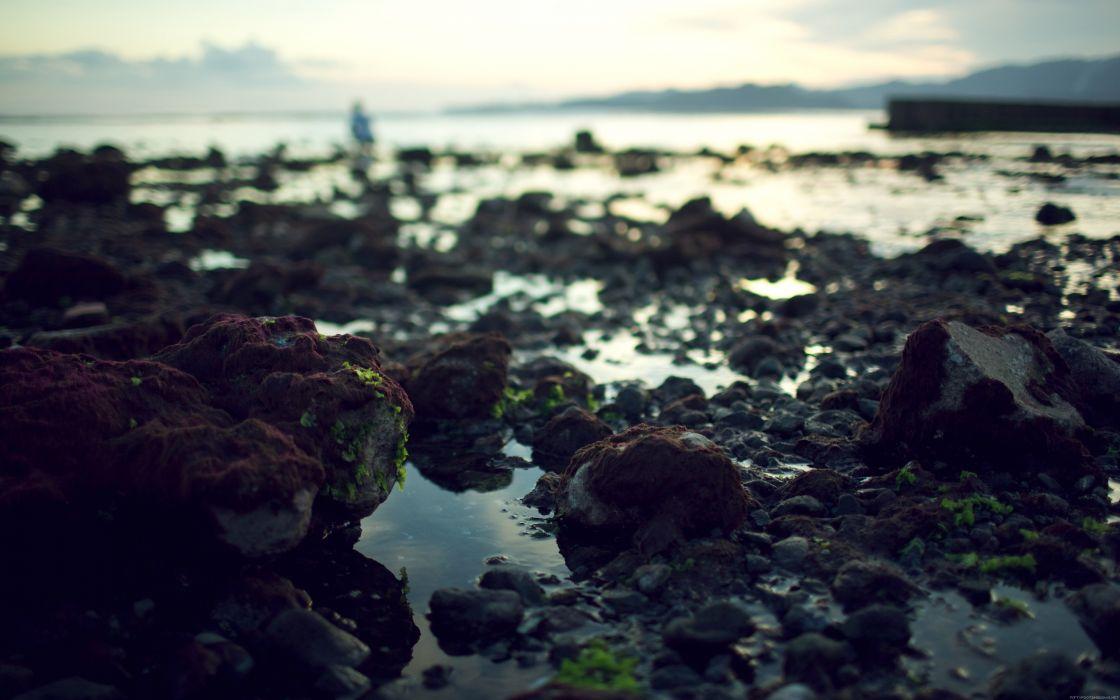 Landscapes rocks dirt seaside wallpaper