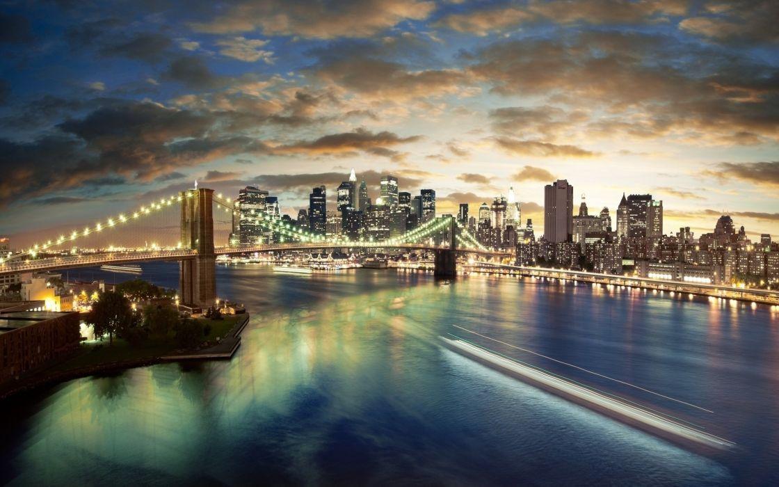 Water clouds landscapes cityscapes bridges wallpaper