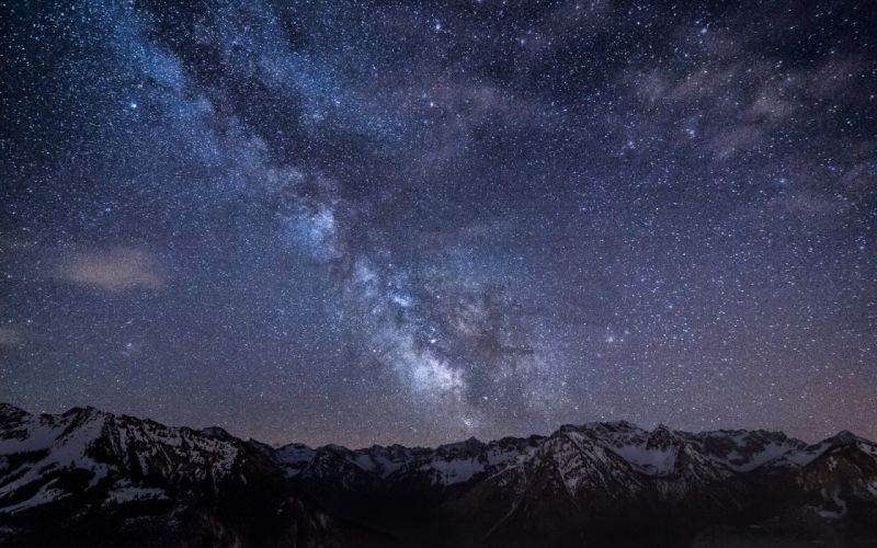 Mountains nature outer space stars milky way alps skyscapes night sky wallpaper