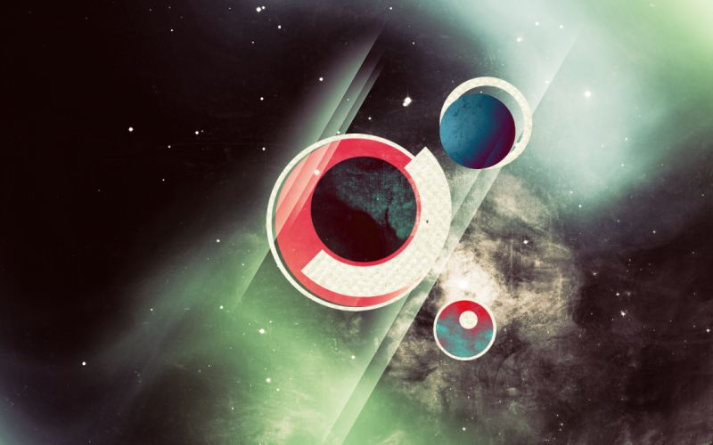 Abstract outer space stars digital circles halo geometry wallpaper
