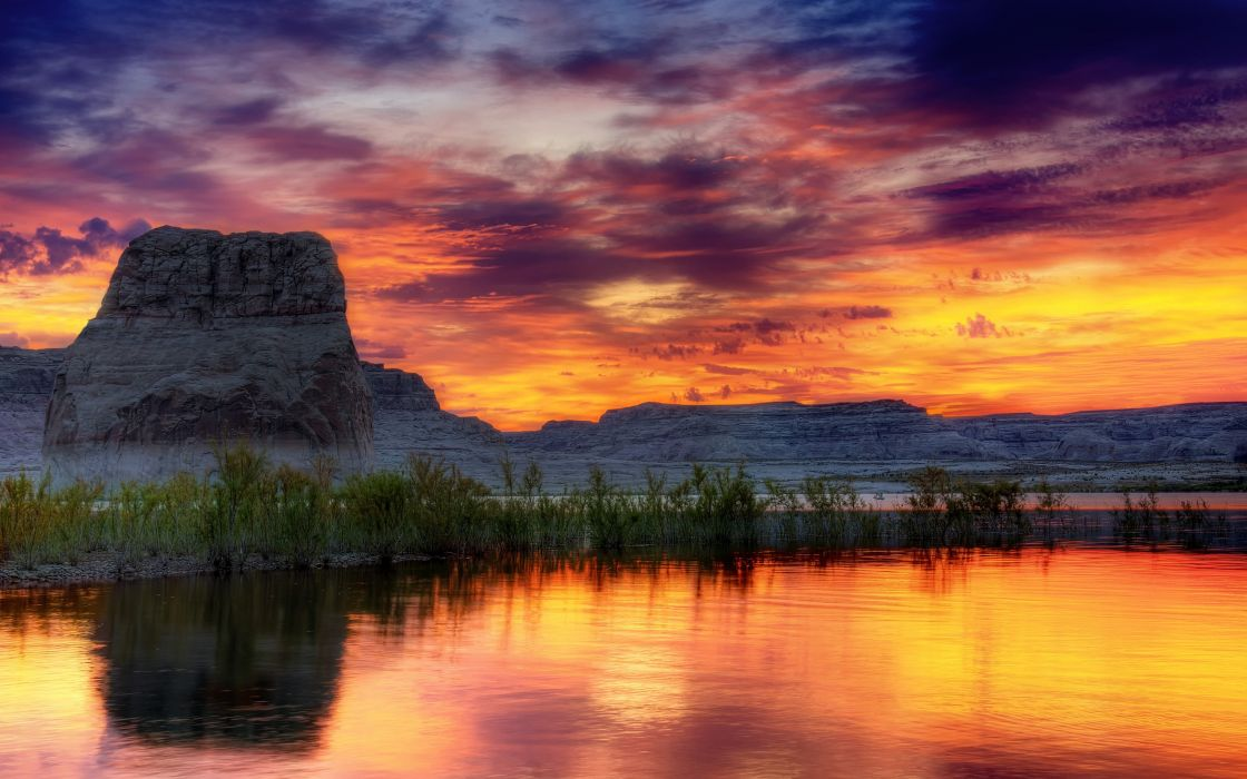 Water sunset clouds landscapes horizon hills lakes mesas dusk skyscapes wallpaper