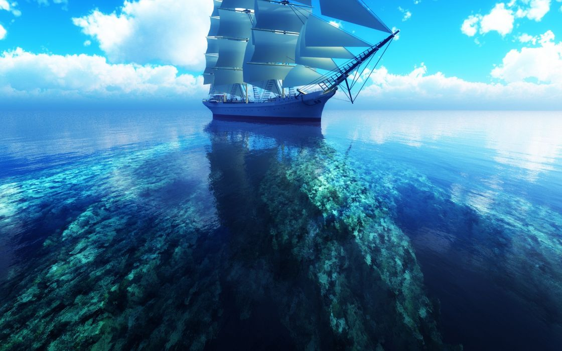 Clouds sea ships digital art skyscapes coral reef wallpaper