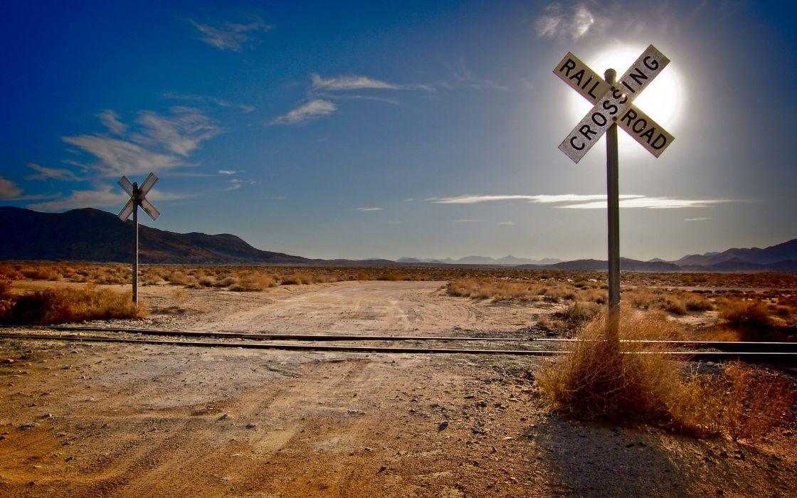 Mountains landscapes nature desert railroad tracks railroads wallpaper
