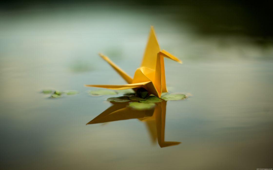 Origami birds swans wallpaper