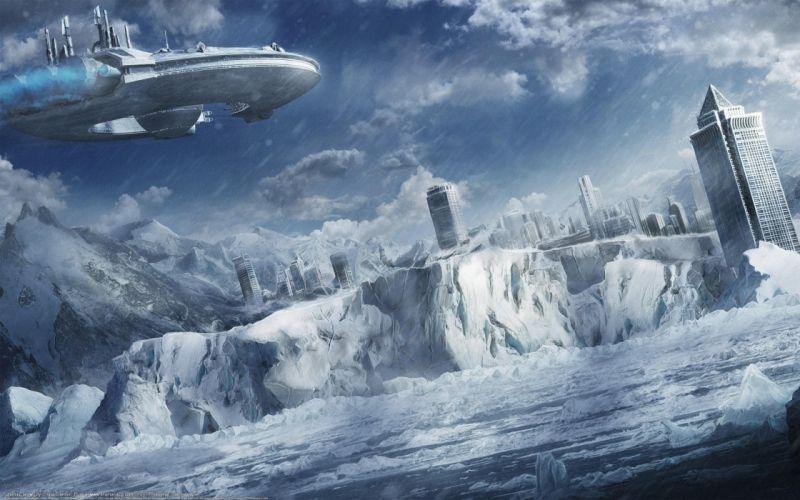 Snow cityscapes futuristic wallpaper