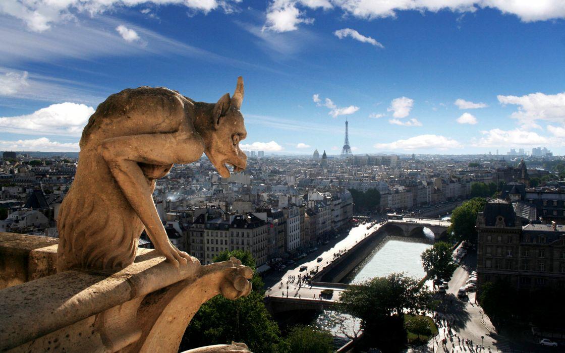 Eiffel tower paris clouds cityscapes urban notre dame wallpaper