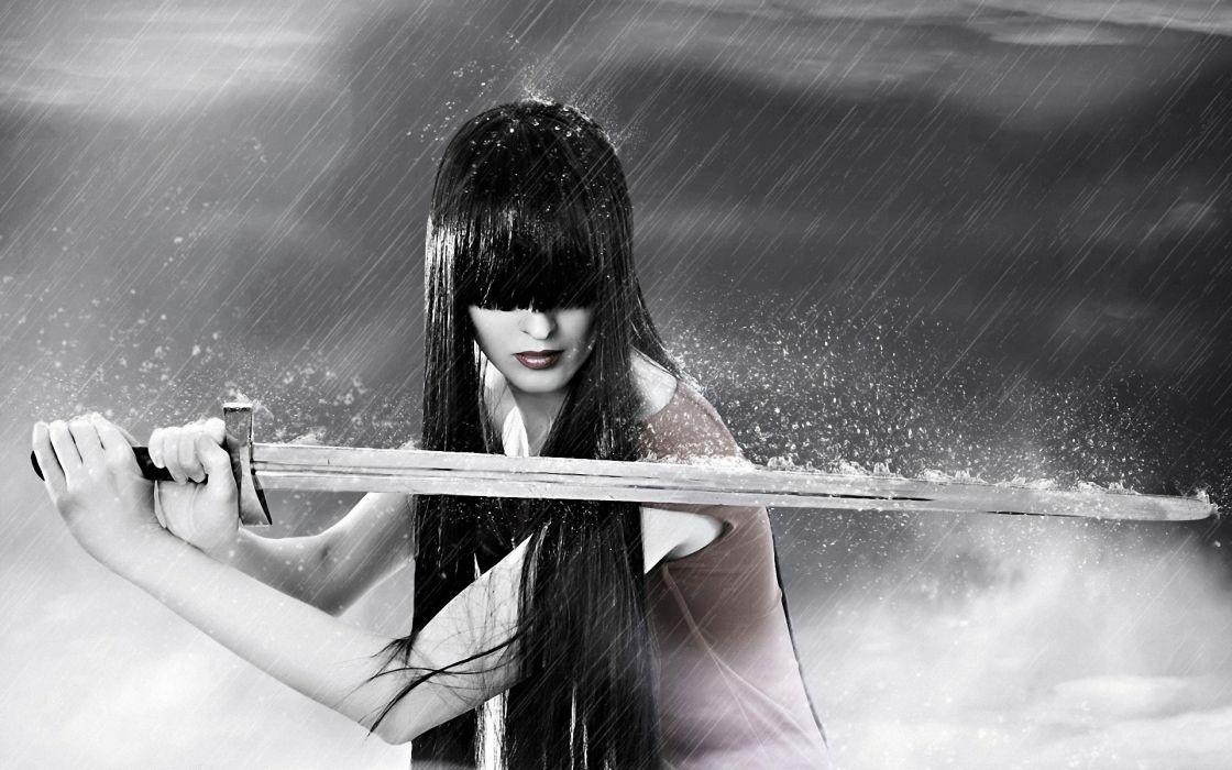 Rain wet anime anime girls swords wallpaper