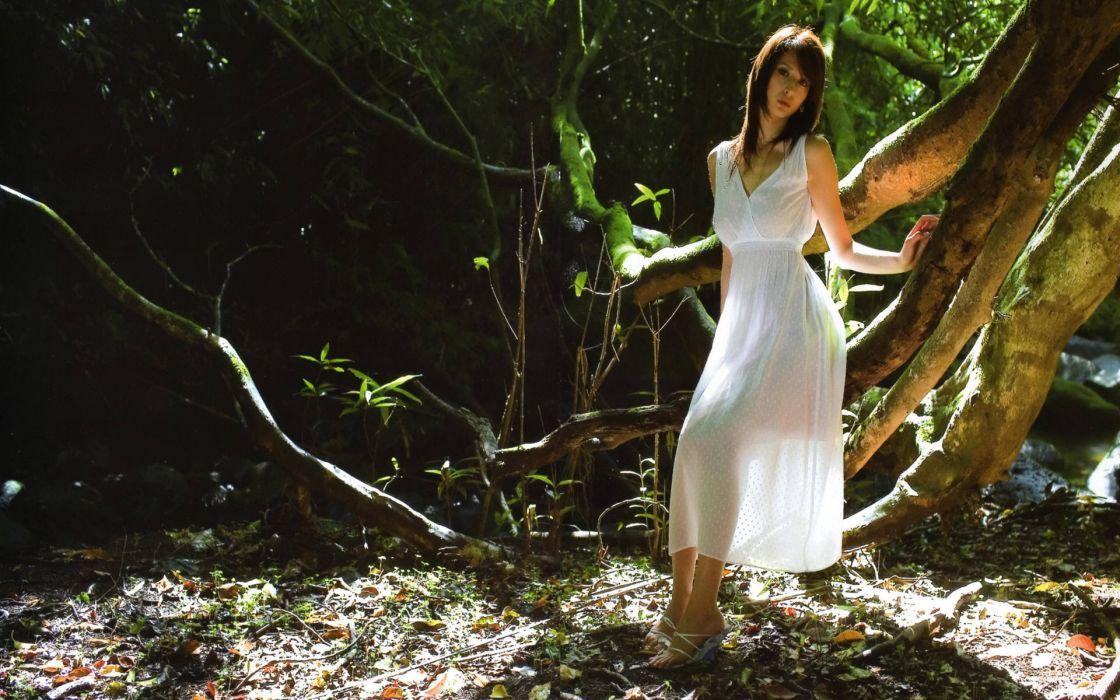 Nature leah dizon trees people asians riverside white dress wallpaper