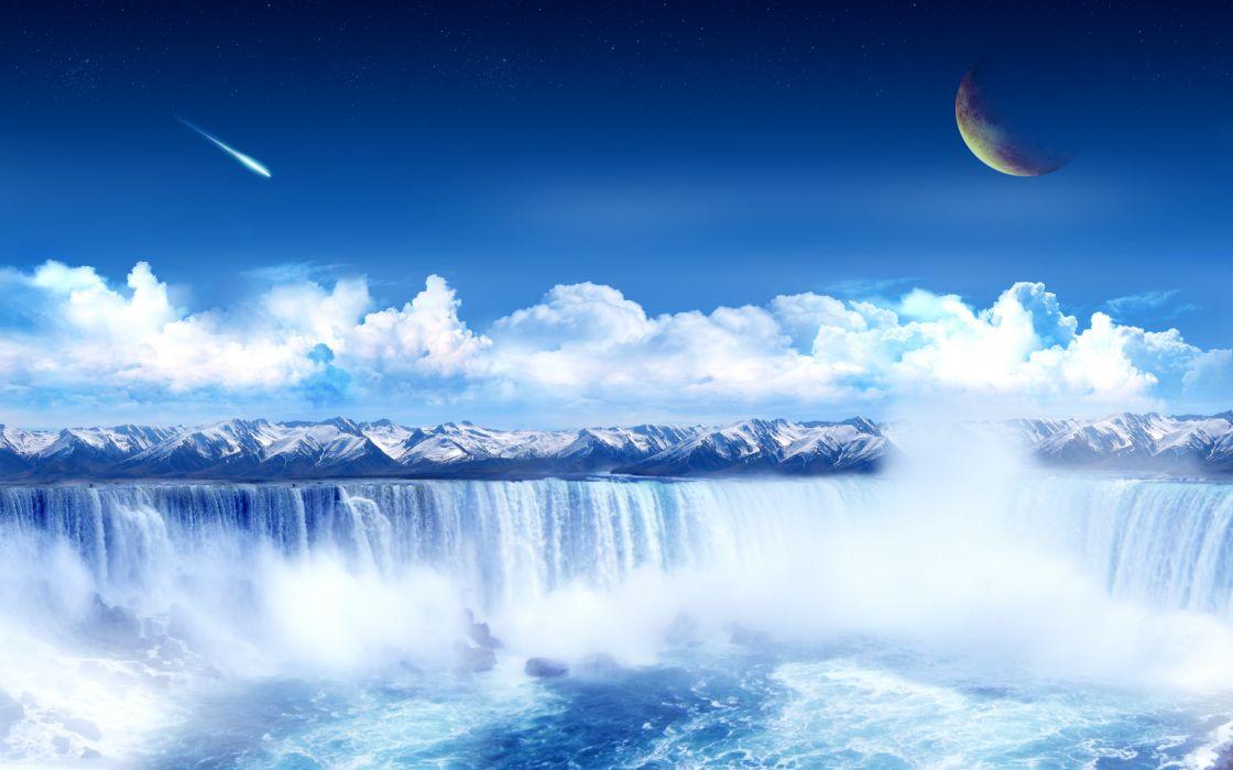 Water clouds planets science fiction meteorite waterfalls wallpaper