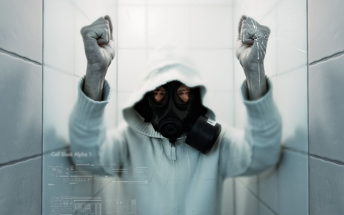 Cell white glass gas masks protest wallpaper