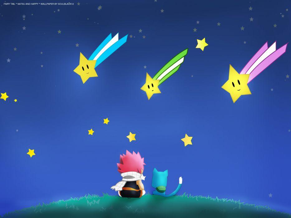 Stars happy fairy tail dragneel natsu anime anime boys manga happy (fairy tail) wallpaper