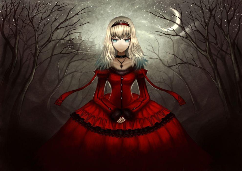 Dress night alice in wonderland moon alice gia anime girls wallpaper