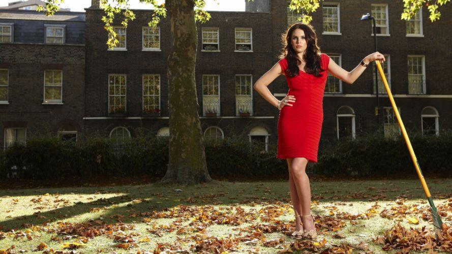 Brunettes women grass danielle lloyd red dress window panes fallen leaves wallpaper
