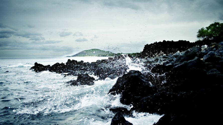 Water sea waves rocks stones shore ripples splashes wallpaper