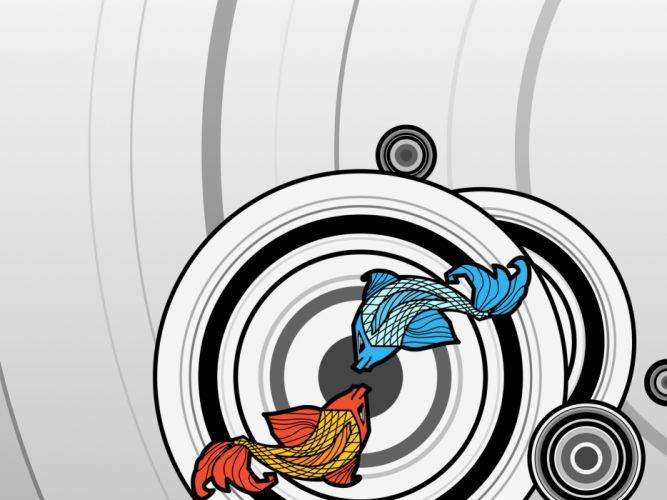 Digital fish vector circles wallpaper