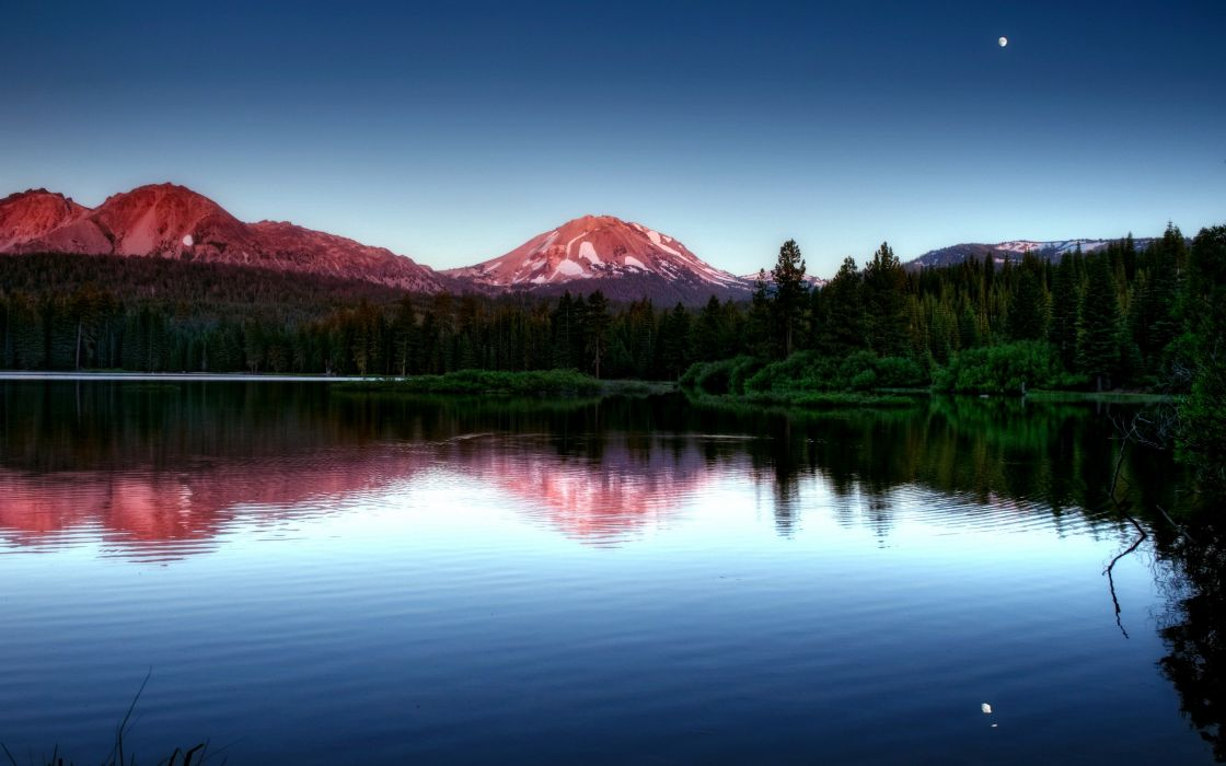 Mountains landscapes forest lakes reflections wallpaper