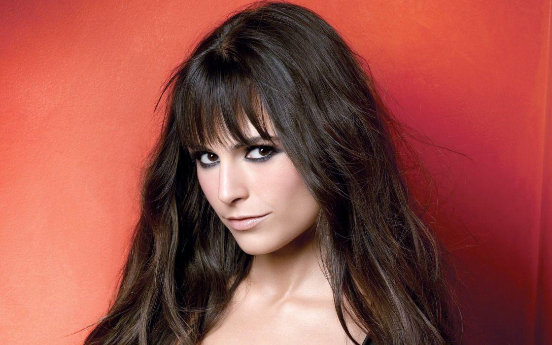 Brunettes women long hair jordana brewster faces red background wallpaper