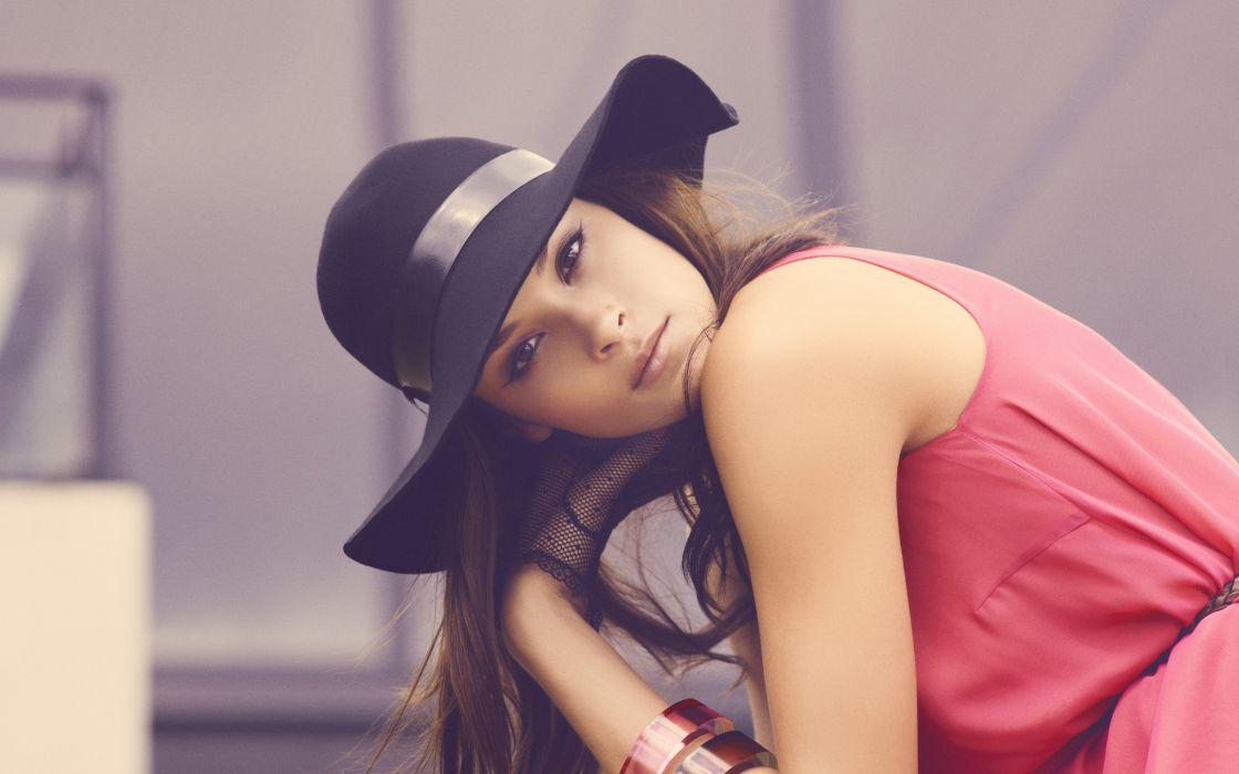 Brunettes women models asians red dress hats wallpaper