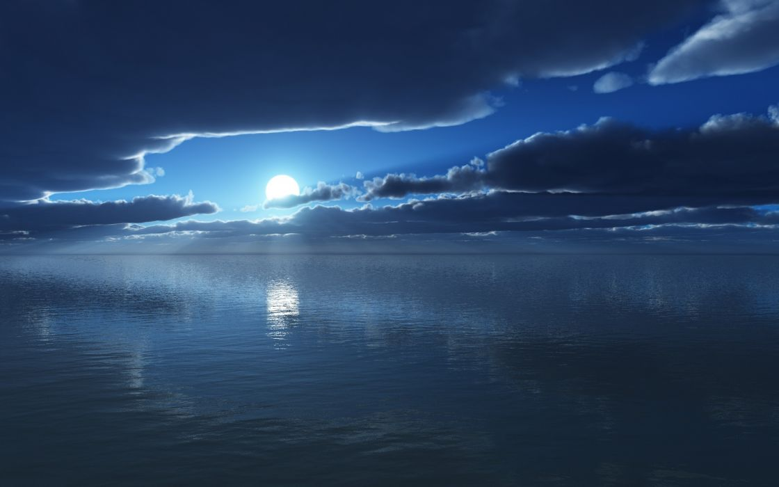 Blue clouds night moon lakes skyscapes wallpaper