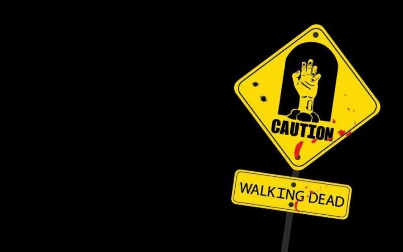 Undead dead signs the walking dead caution wallpaper