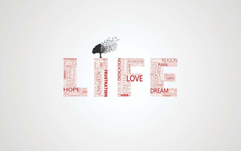 Love trees typography life wallpaper