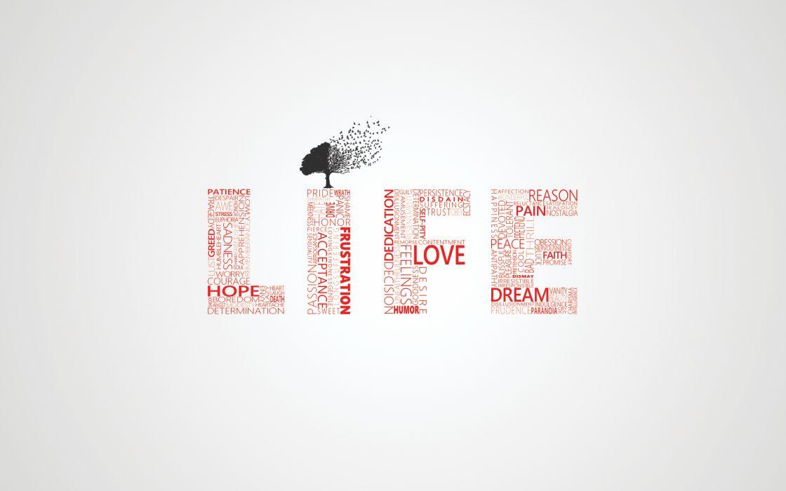 Love trees typography life wallpaper