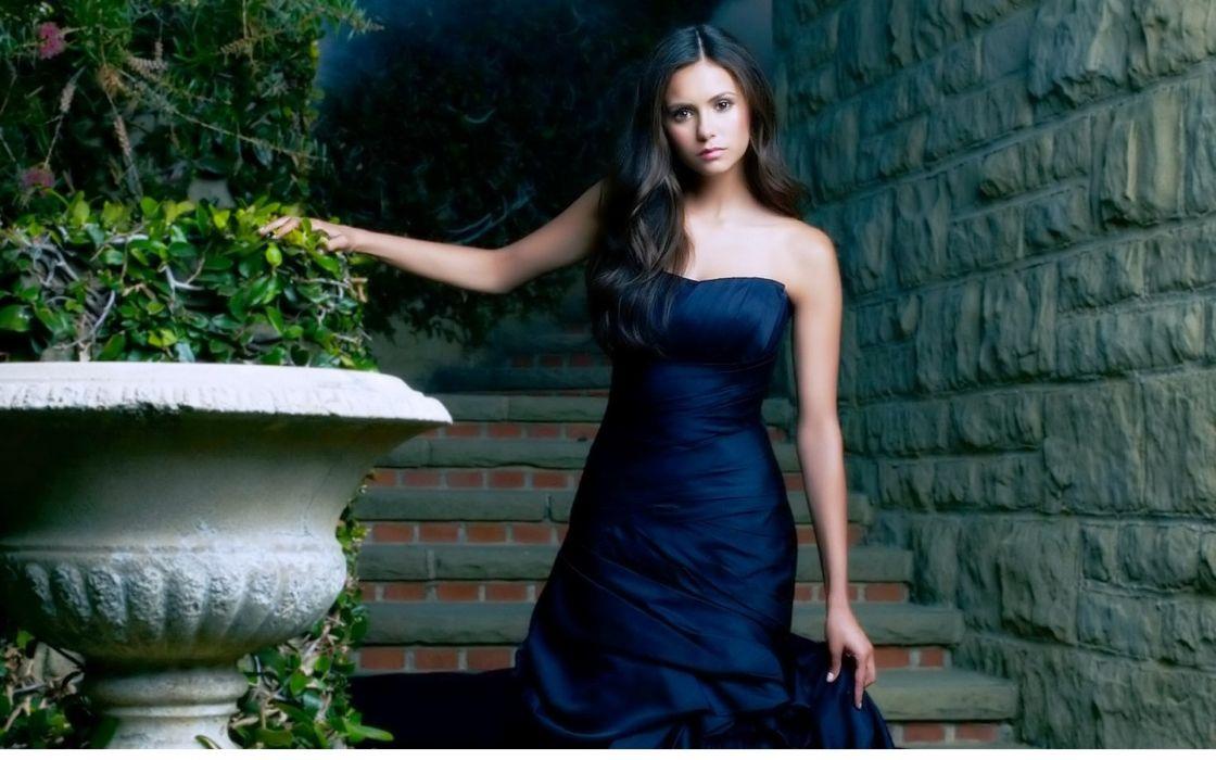 Brunettes women blue dress nina dobrev wallpaper