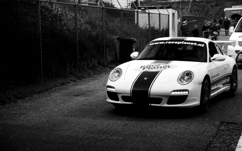 Porsche cars people monochrome chain link fence porsche 911 porsche 997 wallpaper