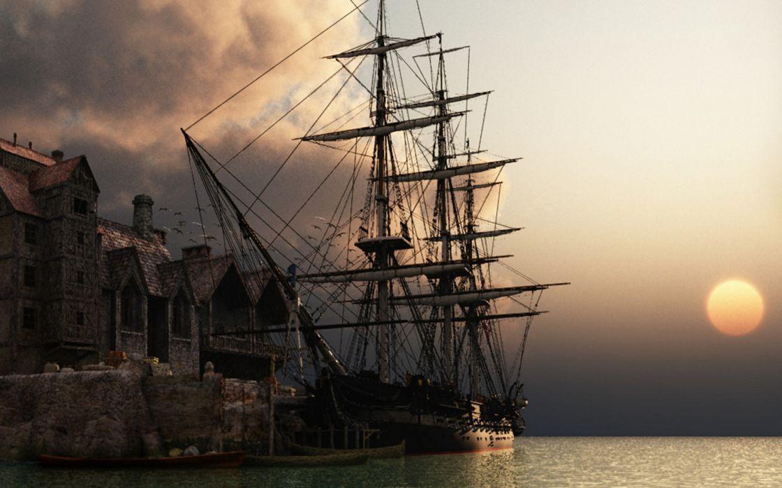 Sunset ocean ships sail ship sails wallpaper
