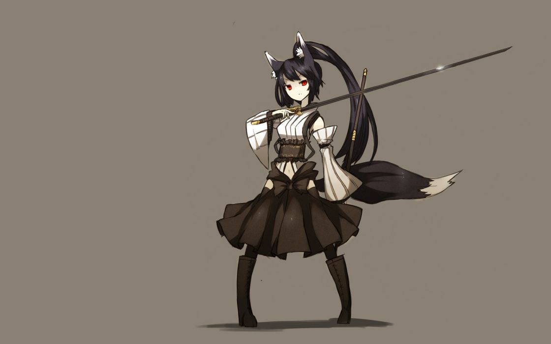 Boots tails skirts long hair weapons animal ears red eyes ponytails japanese clothes simple background anime girls swords brown background black hair wallpaper