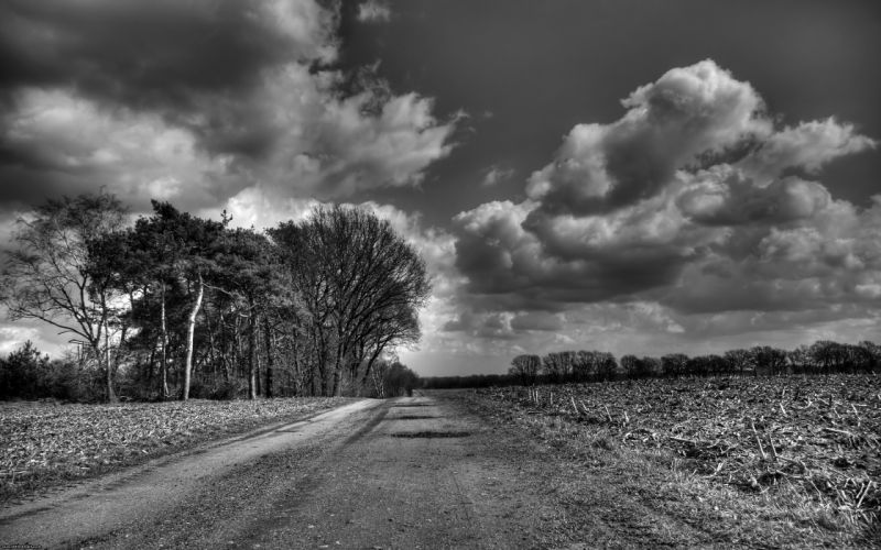 Clouds landscapes grayscale roads monochrome wallpaper