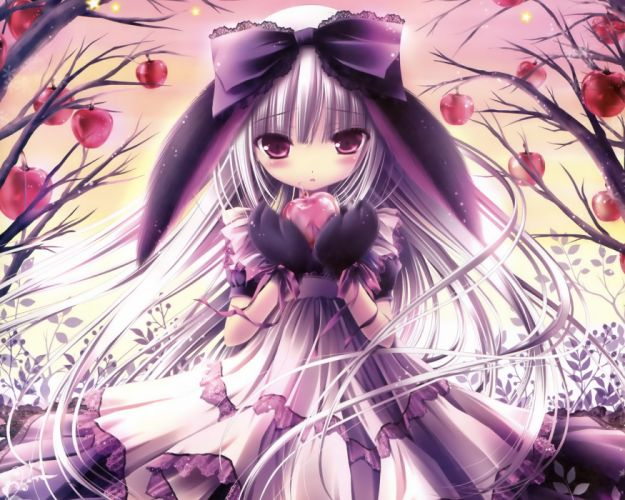 Trees animal ears anime white hair purple eyes bunny ears lolita fashion tinkle illustrations apples anime girls wallpaper