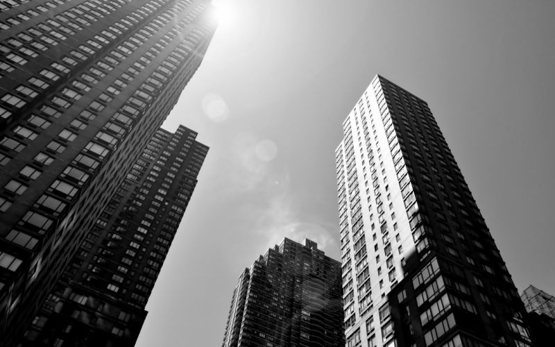 Black and white cityscapes architecture buildings skyscrapers wallpaper