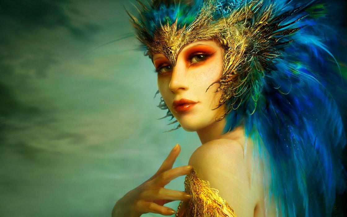Women blue people feathers fantasy art artwork faces wallpaper