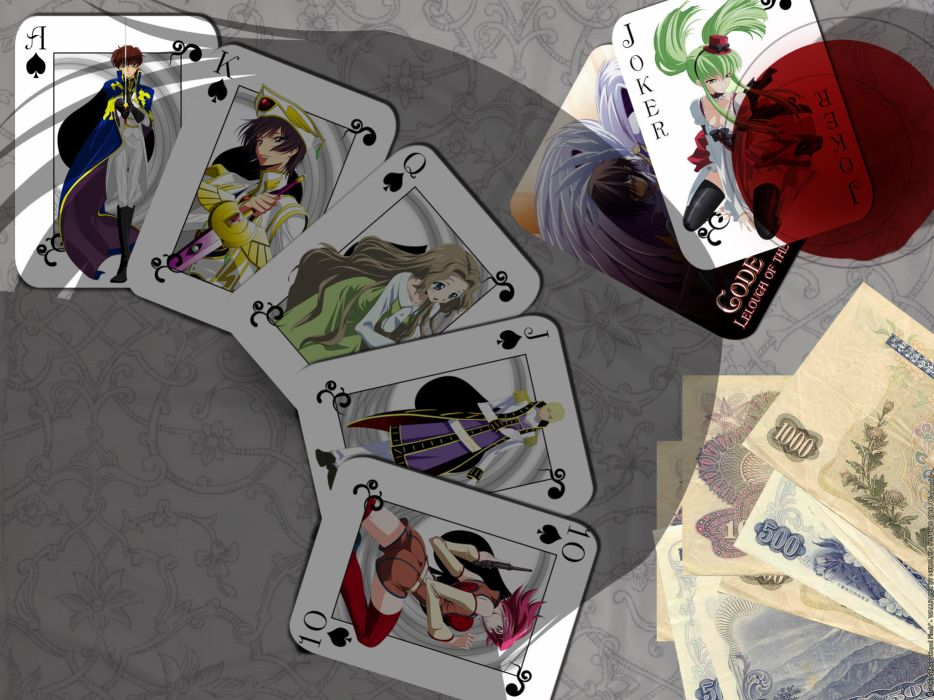 Cards money code geass kururugi suzaku stadtfeld kallen lamperouge nunnally lamperouge lelouch c_c wallpaper