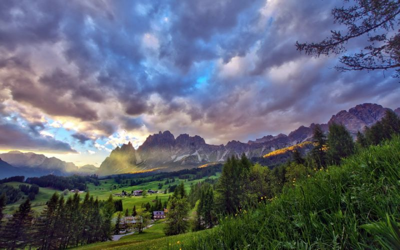 Mountains clouds landscapes nature trees forest houses blue skies wallpaper