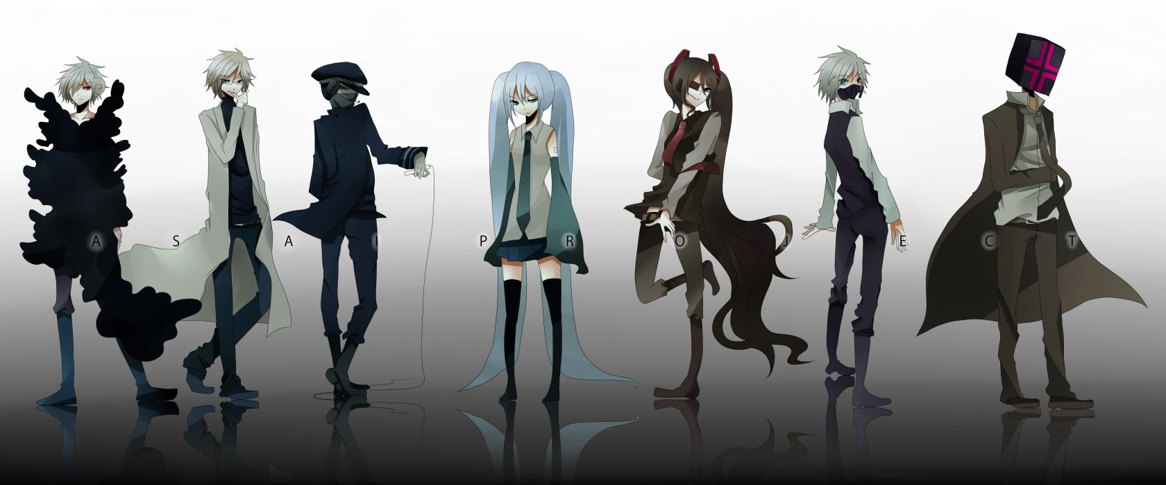 Blondes pants vocaloid hatsune miku suit tie skirts long hair eyepatch blue hair gas masks heterochromia short hair thigh highs twintails zatsune miku aqua eyes orange eyes reflections hats simple backgr wallpaper