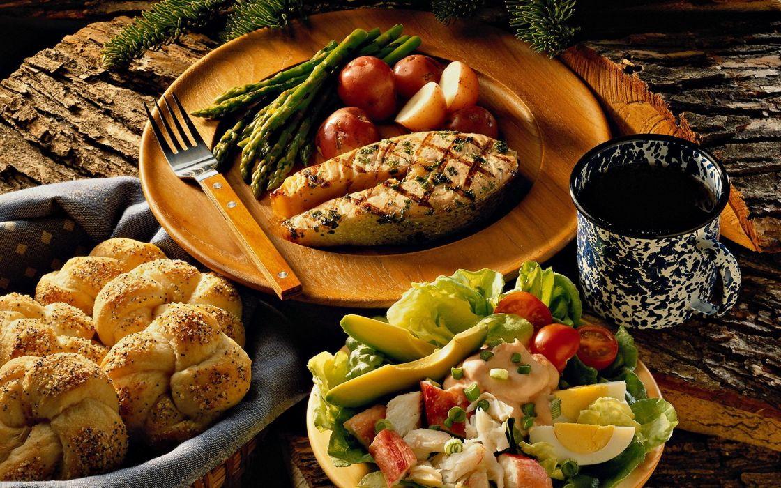 Eggs food fish bread forks asparagus wallpaper