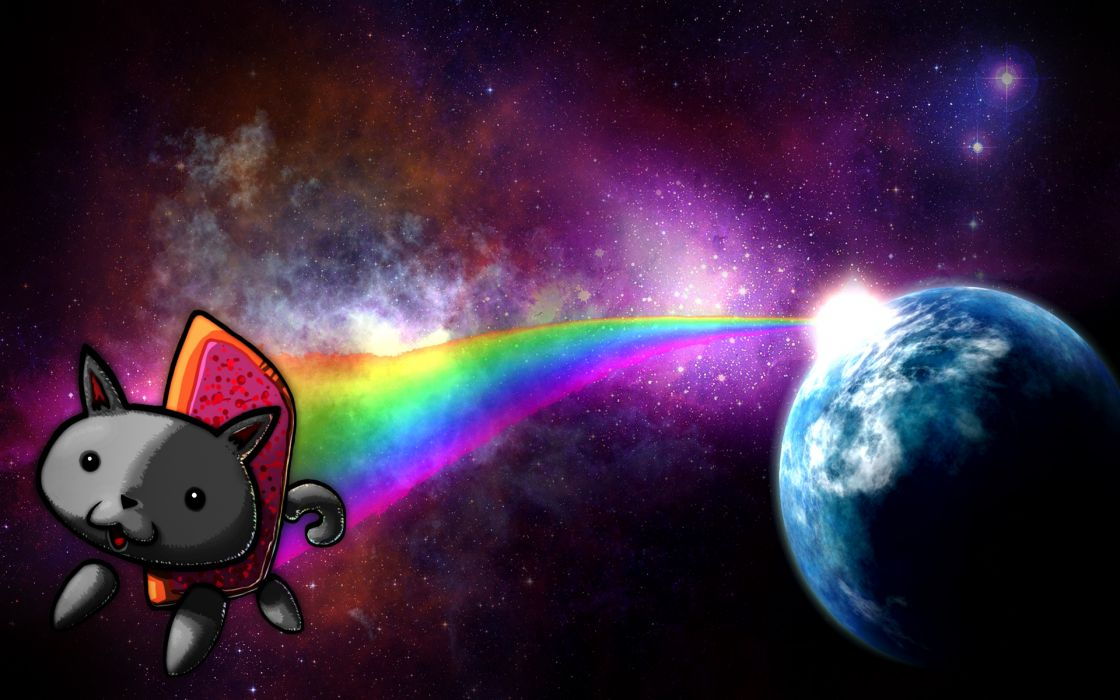 Outer space earth rainbows nyan cat wallpaper