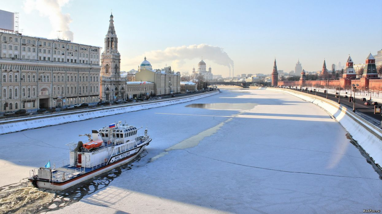 Sunrise russia ships moscow morning kremlin rivers russian winter moscow river wallpaper