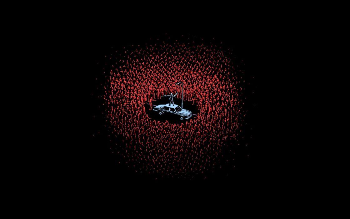 Red cars zombies men woot artwork wallpaper