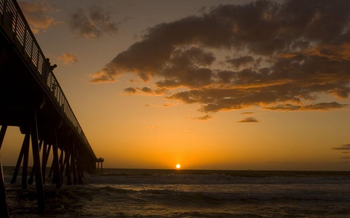 Sunset ocean horizon bridges wallpaper